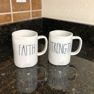 Rae Dunn Faith & Strength Coffee Mugs Set Of 2